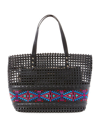 Steve Madden Bhilda Perforated Tote-BLACK-One Size 88979433_BLACK_One Size