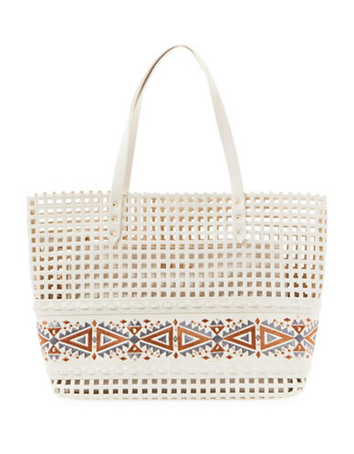 Steve Madden Bhilda Perforated Tote-WHITE-One Size