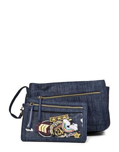 Steve Madden Bfarrah Iron-On Patches Denim Shoulder Bag-BLUE-One Size