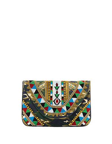 Steve Madden Beaded Clutch-GREEN-One Size