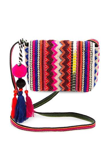 Steve Madden Lyric Embroidered Flap Crossbody Bag-PINK-One Size