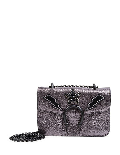 Steve Madden Syra Embellished Crossbody Bag-PEWTER-One Size
