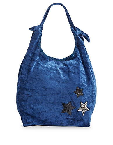 Steve Madden Phoenix Velvet Hobo Bag-BLUE-One Size