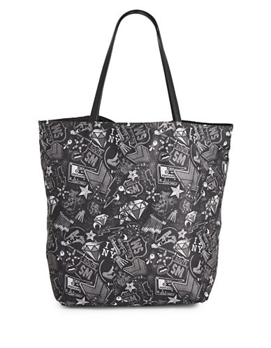 Steve Madden Adal Patch Reversible Tote-BLACK-One Size