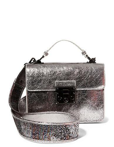 Steve Madden Zoe Metallic Mini Top Handle Bag-SILVER-One Size