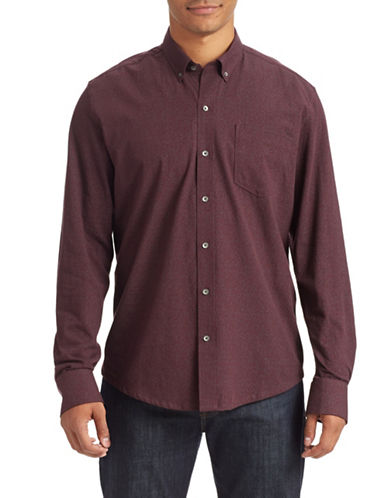 Wrk Printed Button-Down Shirt-BURGUNDY-Medium