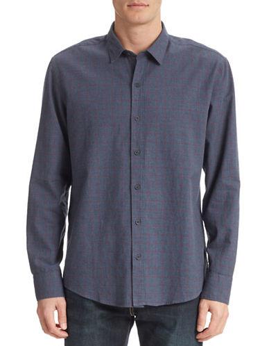 Wrk Windowpane Print Shirt-DENIM-Medium