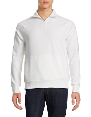Wrk Solid Quarter-Zip Sweater-WHITE-X-Large