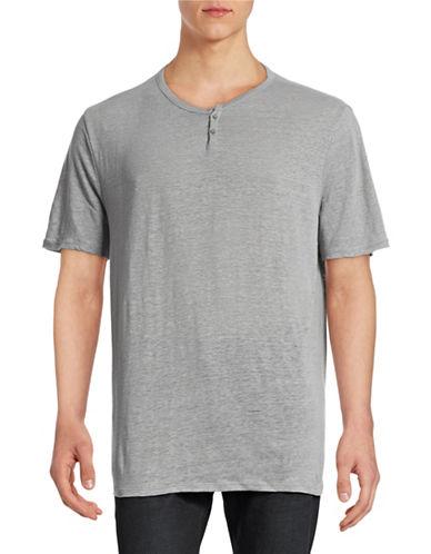 Wrk Metro Short Sleeve Linen Henley Top-GREY-Small
