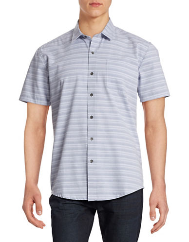 Wrk Melange Stripe Short Sleeve Shirt-PERI BLUE-Medium