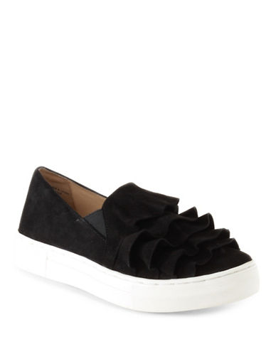 Seychelles Quake Leather Ruffled Sneakers-BLACK-9