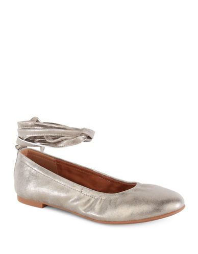 Seychelles Have A Heart Ankle Wrap Ballet Flats-GOLD-8.5