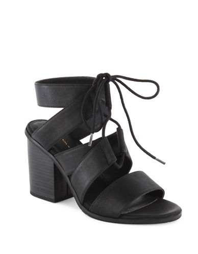 Seychelles Stacked Heel Lace-Up Sandals-BLACK-7.5