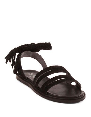 Seychelles Botanical Tassel Leather Sandals-BLACK-6.5
