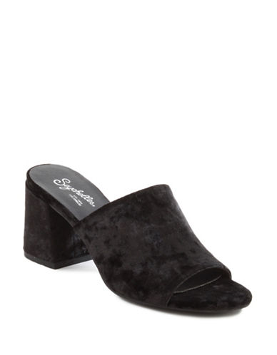 Seychelles Commute Velvet Slides-BLACK-8