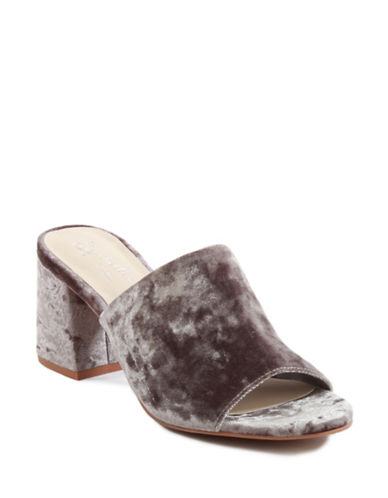 Seychelles Commute Velvet Slides-GREY-8.5