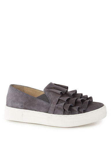 Seychelles Quake Leather Ruffled Sneakers-GREY-8
