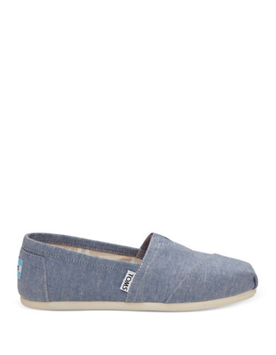Toms Womens Slub Chambray Slip-On Sneakers-BLUE-6.5