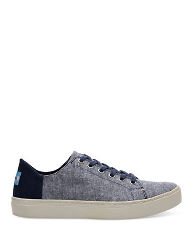 Toms Womens Lenox Slub Chambray Low Top Sneakers-NAVY-9