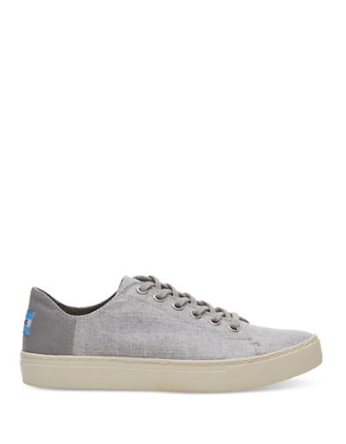 Toms Womens Lenox Slub Chambray Low Top Sneakers-GREY-7.5