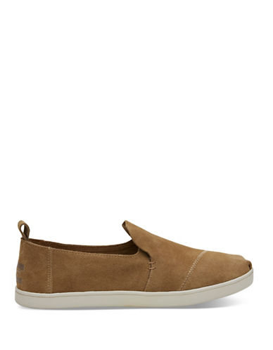 Toms Womens Alpargata Suede Slip-On Sneakers-TOFFEE-6.5