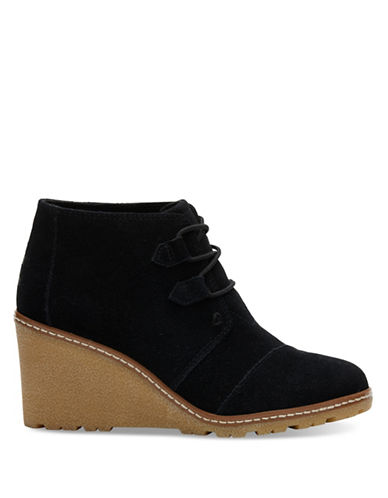 Toms Suede Crepe Desert Wedge Booties-BLACK-5.5