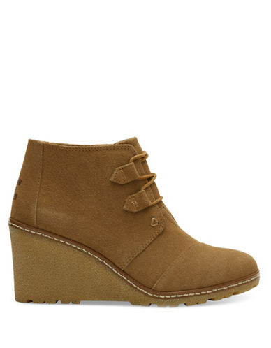 Toms Suede Crepe Desert Wedge Booties-BROWN-11