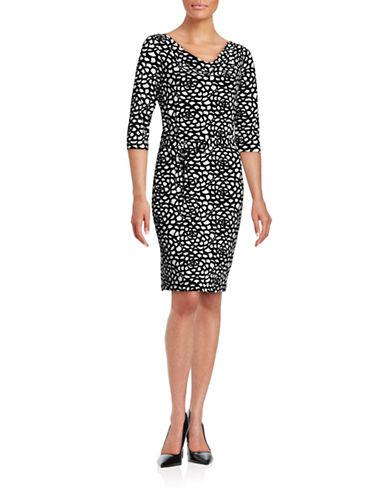 Karl Lagerfeld Paris Drape Front Monochrome Dress-BLACK-10