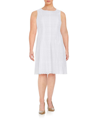 Ivanka Trump Plus Eyelet Fit-and-Flare Dress-WHITE-14W