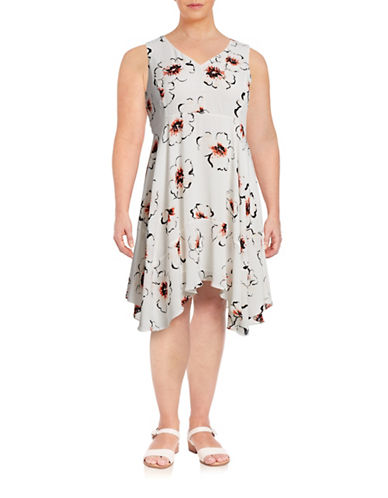 Ivanka Trump Plus Sleeveless Floral Dress-WHITE-14W