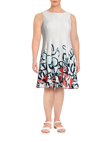 Ivanka Trump Plus Floral Scuba Fit-and-Flare Dress-WHITE-22W