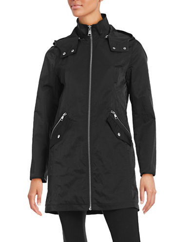 Karl Lagerfeld Paris Crinkled Packable Anorak-BLACK-Medium