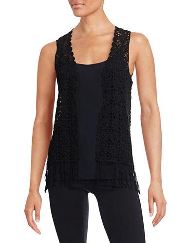 Kensie Crochet Vest With Fringe Hem-BLACK-X-Small/Small