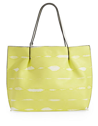 Kensie Tie-Dye Stripe Large Tote Bag-YELLOW-One Size