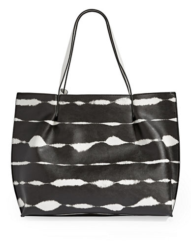 Kensie Tie-Dye Stripe Large Tote Bag-BLACK-One Size