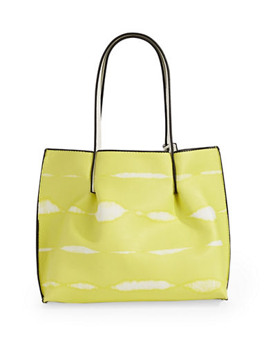 Kensie Tie-Dye Stripe Mini Tote Bag-YELLOW-One Size