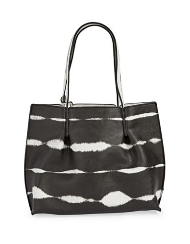 Kensie Tie-Dye Stripe Mini Tote Bag-BLACK-One Size