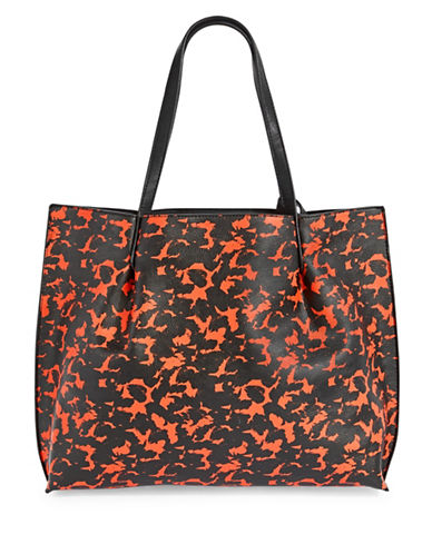 Kensie Animal Print Faux Leather Tote-ORANGE-One Size