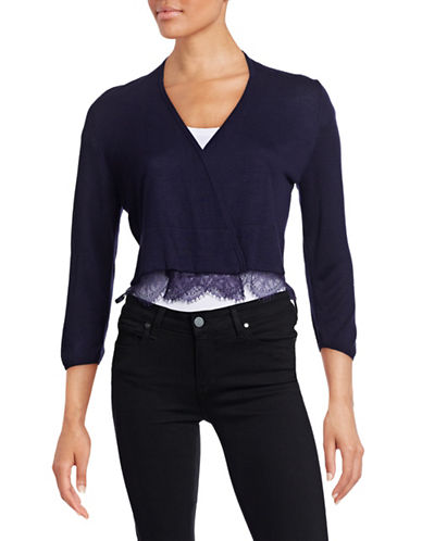 Tommy Hilfiger Open-Front Shrug with Lace Hem-BLUE-Large