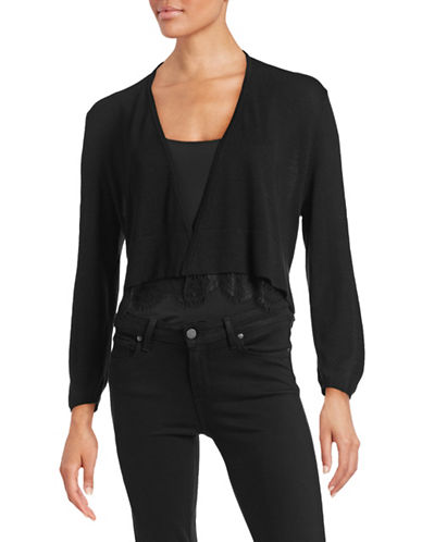 Tommy Hilfiger Open-Front Shrug with Lace Hem-BLACK-Large