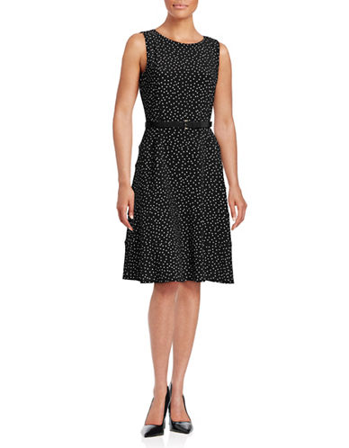 Tommy Hilfiger Scattered Dot Belted Swing Dress-BLACK-14