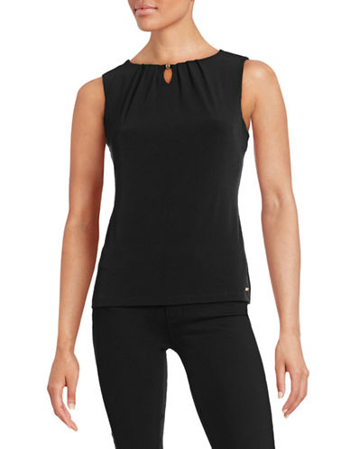 Ivanka Trump Sleeveless Pleat Neck Blouse-BLACK-X-Small