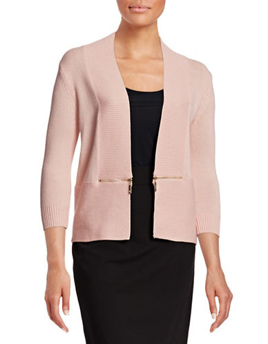 Ivanka Trump Knit Shrug with Zip Detail-PINK-Large