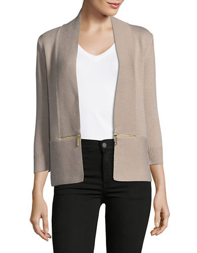 Ivanka Trump Knit Shrug with Zip Detail-BEIGE-Small