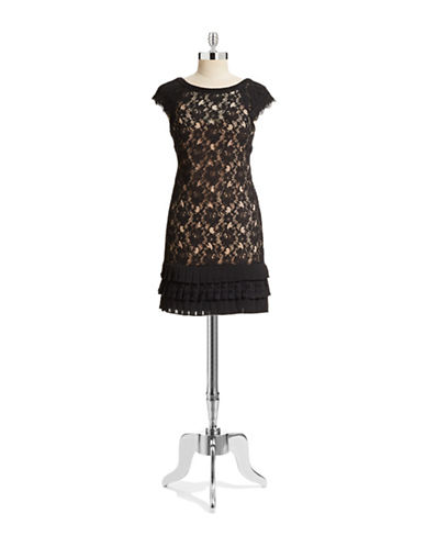 Jessica Simpson Lace Shift Dress with Pleated Hem-BLACK-2