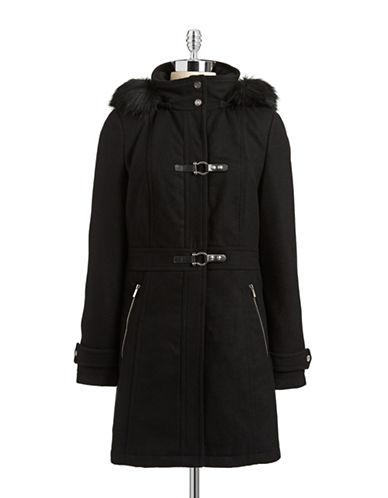 Ivanka Trump Faux Fur Wool-Blend Toggle Jacket-BLACK-10