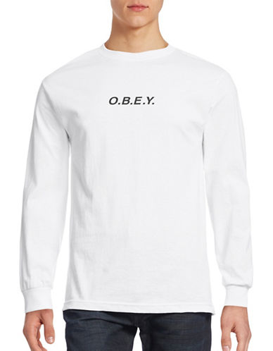 Obey Long Sleeve Punctuated Logo T-Shirt-WHITE-Small 88588757_WHITE_Small