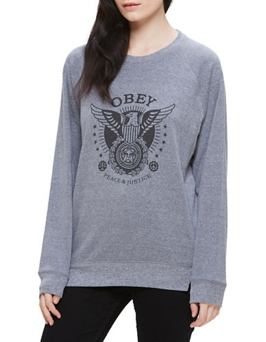 Obey Peace and Justice Eagle Sweater-GREY-Small 88796386_GREY_Small