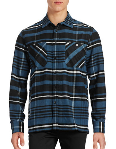 Obey Patterson Plaid Flannel Shirt-BLUE-Small