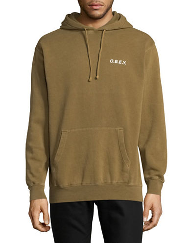 Obey Hooded Pullover-BROWN-Large